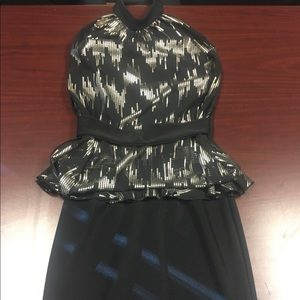 Mystic black with gold detail mini peplum dress